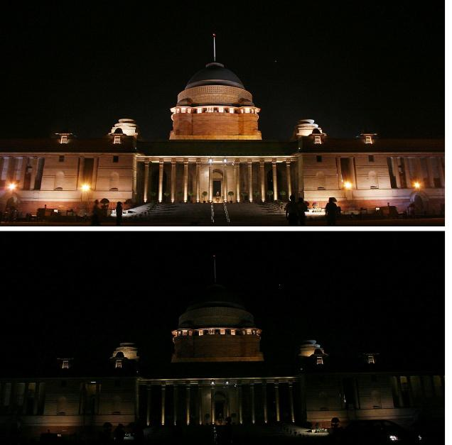 Rashtrapathi Bhawan  before and during Earth Hour