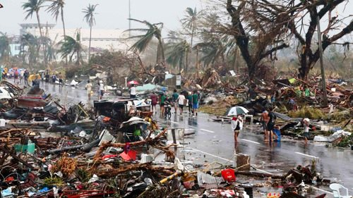 Aftermath of Typhoon Haiyan in the Philippines in 2013