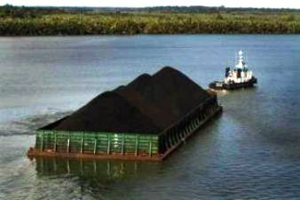 River Barge Carrying Coal in Indonesia