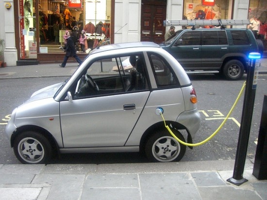 An electric car getting charged